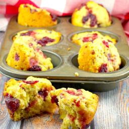 Cranberry Swirl Cornbread muffin