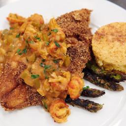 Crawfish Etouffee, Fried Catfish, Rice, Grilled Asparagus and Cornbread