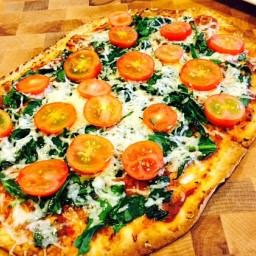 Crazy Fast Flatbread Spinach and Tomato Pizza
