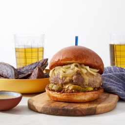 Creamed Onion & Smoked Gouda Burger with Purple Potato Wedges & Hon