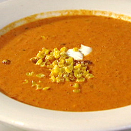 Cream of Roasted Red Bell Pepper Soup with Roasted Sweet Corn and Cilantro-
