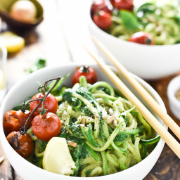 Creamy Avocado Pesto Zucchini Noodles with Burst Tomatoes