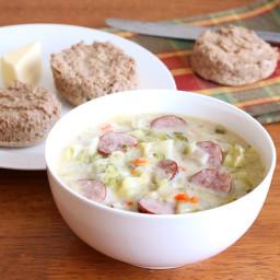 Creamy Cabbage and Kielbasa Soup