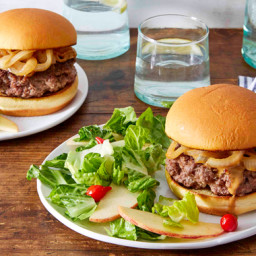 Creamy Caramelized Onion Burgers with Apple & Pickled Pepper Salad