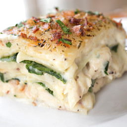 Creamy Chicken Florentine Lasagna with Two Cheeses, Baby Spinach and Crispy