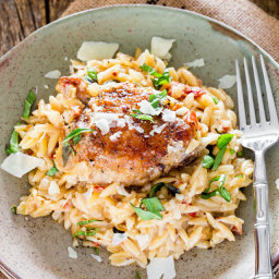 Creamy Chicken, Orzo and Sun Dried Tomato Skillet Dinner