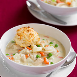 Creamy Chicken Pot Pie Soup with Parmesan Drop Biscuits