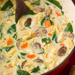 Creamy Chicken, Spinach and Mushroom Tortellini Soup
