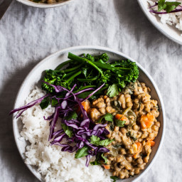 Creamy Coconut Curried Green Lentils ( and Bowls)