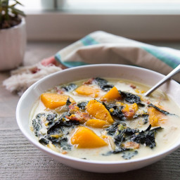 Creamy Diary-Free Kale Bacon and Butternut Squash Soup