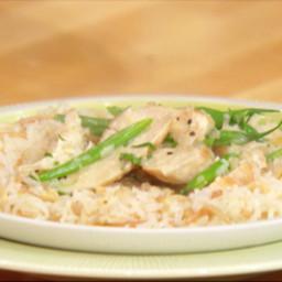 Creamy Dijon-terragone chicken with rice pilaf