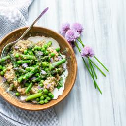 Creamy Farro with Pesto Asparagus and Peas