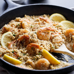 Creamy Garlic Shrimp Cauliflower Rice Risotto