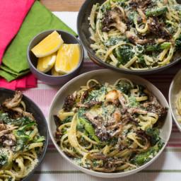 Creamy Pasta Primaverawith Sautéed Asparagus and Crispy Maitake Mushrooms
