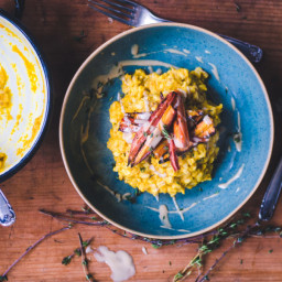 Creamy Pearl Barley Risotto / Carrots, Thyme and Tahini