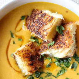 Creamy Pumpkin Soup with Grilled Cheese Croutons