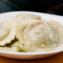 Creamy Ravioli and Pesto Gratin