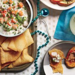 Creamy Shrimp Dip with Crispy Wonton Chips