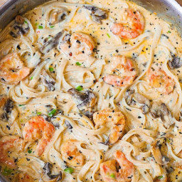 Creamy Shrimp Pasta with Mushrooms