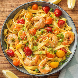 Creamy Shrimp Tagliatelle with Heirloom Tomatoes, Garlic, and Chili