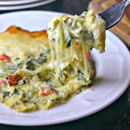 Creamy Spinach and Spaghetti Squash Bake