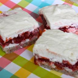 Creamy Strawberry, Rhubarb & Mascarpone Cheese Bars
