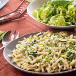 Creamy Strozzapreti Pastawith English Peas, Zucchini and Mascarpone Cheese