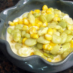 Creamy Succotash With Onions and Bell Pepper