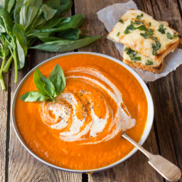 Creamy Tomato Soup and Basil Cheese on Toast