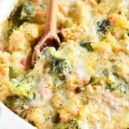 Creamy Whole30 Garlic Broccoli Salmon Spaghetti Squash Casserole (DF)
