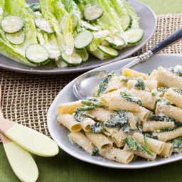 Creamy Asparagus Rigatoniwith Romaine Salad and Lemon-Parmesan Dressing