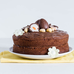 Crème Egg, Peanut Butter And Nutella Cake With A Nutella Icing