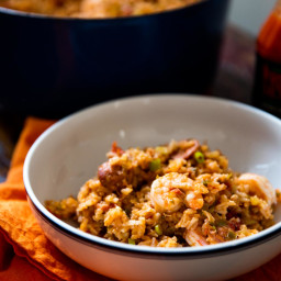 Creole-Style Red Jambalaya With Chicken, Sausage, and Shrimp Recipe