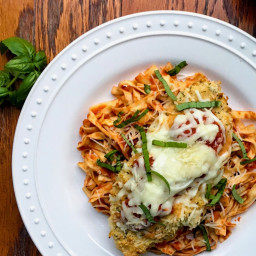 Crispy Baked Chicken Parmesan and Fettucine