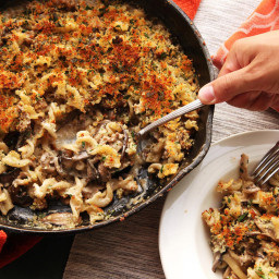 Crispy Baked Pasta With Mushrooms, Sausage, and Parmesan Cream Sauce Recipe
