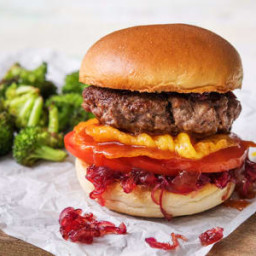 Crispy Cheddar Frico Cheeseburgers with Caramelized Onion Jam and Roasted B