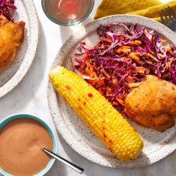Crispy Chicken & BBQ Mayo with Corn on the Cob & Cabbage-Carrot Sla