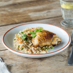 Crispy Chicken Biryani with Spiced Basmati Rice, Golden Raisins, and Peas