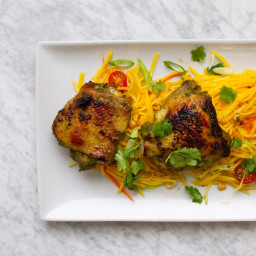 Crispy Chicken Thighs with Green Papaya Salad