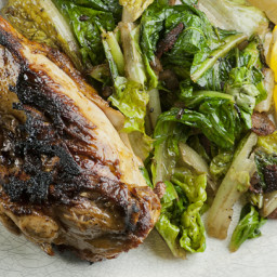 Crispy Chicken with Wilted Romaine