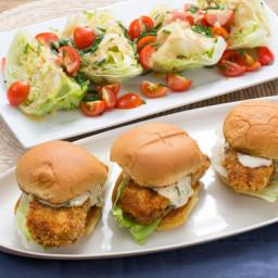 Crispy Cod Sandwicheswith Tartar Sauce and Iceberg Wedge Salad