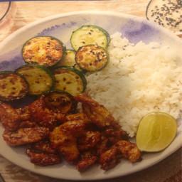 Crispy Cumin-Sichuan Chicken with Sesame Zucchini & Rice