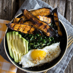 Crispy Eggplant Bacon Breakfast Bowl
