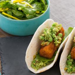 Crispy Fish Tacoswith English Pea Guacamole and Pea Tip Salad