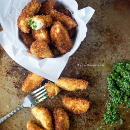 Crispy fried artichoke hearts with salsa verde