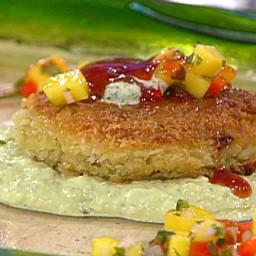 Crispy Louisiana Crab Cakes with Mango Salsa, Spiced Tomato Glaze and Cilan