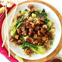 Crispy Peanut Tofu and Cauliflower Rice Stir-Fry