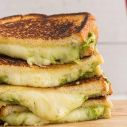 Crispy Pesto Mozzarella Grilled Cheese
