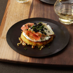 Crispy Potato Galette with Dill Cream, Smoked Salmon and Sturgeon and Osetr