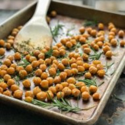 crispy roasted chickpeas with rosemary and lemon zest